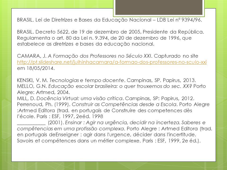 BRASIL. Lei de Diretrizes e Bases da Educação Nacional – LDB Lei nº 9394/96.