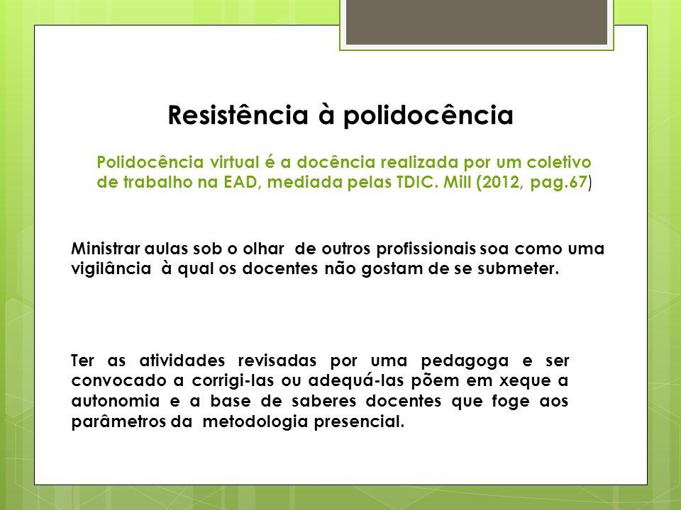 Resistência à polidocência Polidocência virtual é a docência realizada por um coletivo de trabalho na EAD, mediada pelas TDIC.