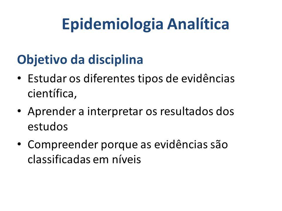Epidemiologia Analítica Objetivo da disciplina Estudar os diferentes tipos de evidências científica, Aprender a interpretar os resultados dos estudos