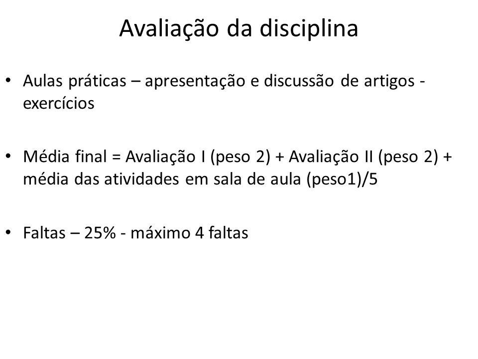 Avaliação da disciplina Aulas práticas – apresentação e discussão de artigos - exercícios Média final = Avaliação I (peso 2) + Avaliação II (peso 2) +