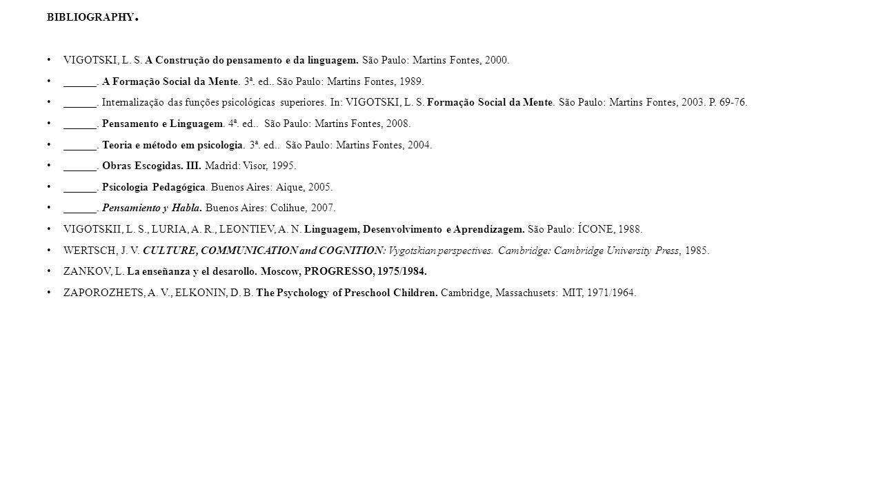 BIBLIOGRAPHY. VIGOTSKI, L. S. A Construção do pensamento e da linguagem. São Paulo: Martins Fontes, 2000. ______. A Formação Social da Mente. 3ª. ed..