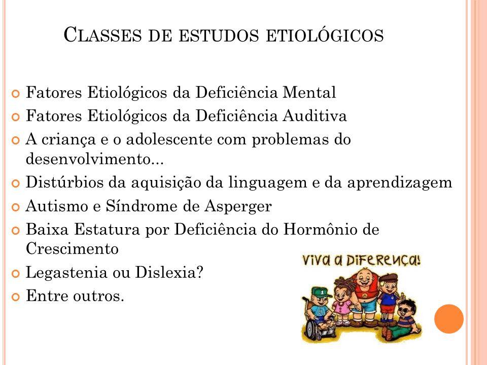 C LASSES DE ESTUDOS ETIOLÓGICOS Fatores Etiológicos da Deficiência Mental Fatores Etiológicos da Deficiência Auditiva A criança e o adolescente com pr