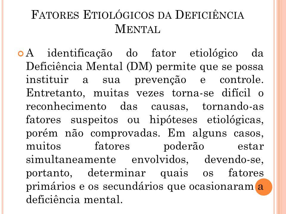 A identificação do fator etiológico da Deficiência Mental (DM) permite que se possa instituir a sua prevenção e controle. Entretanto, muitas vezes tor