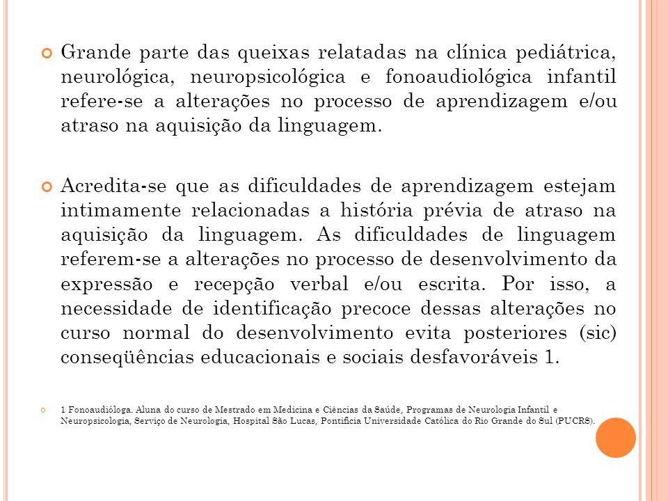 Grande parte das queixas relatadas na clínica pediátrica, neurológica, neuropsicológica e fonoaudiológica infantil refere-se a alterações no processo