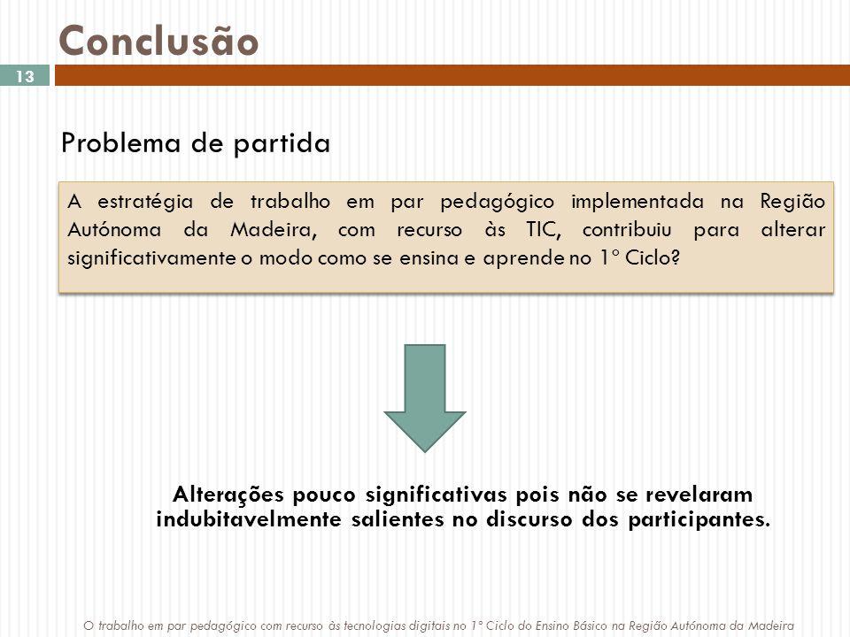 Conclusão A estratégia de trabalho em par pedagógico implementada na Região Autónoma da Madeira, com recurso às TIC, contribuiu para alterar significativamente o modo como se ensina e aprende no 1º Ciclo.