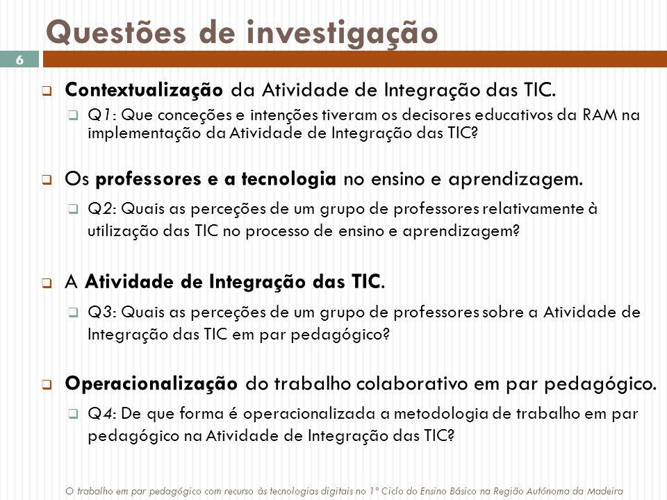Questões de investigação  Contextualização da Atividade de Integração das TIC.
