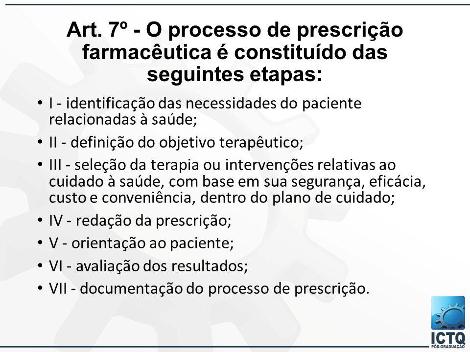 Art. 7º - O processo de prescrição farmacêutica é constituído das seguintes etapas: I - identificação das necessidades do paciente relacionadas à saúd