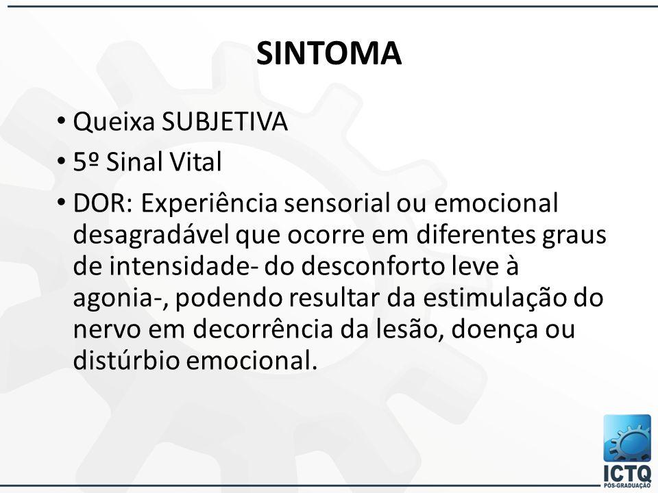 SINTOMA Queixa SUBJETIVA 5º Sinal Vital DOR: Experiência sensorial ou emocional desagradável que ocorre em diferentes graus de intensidade- do desconf