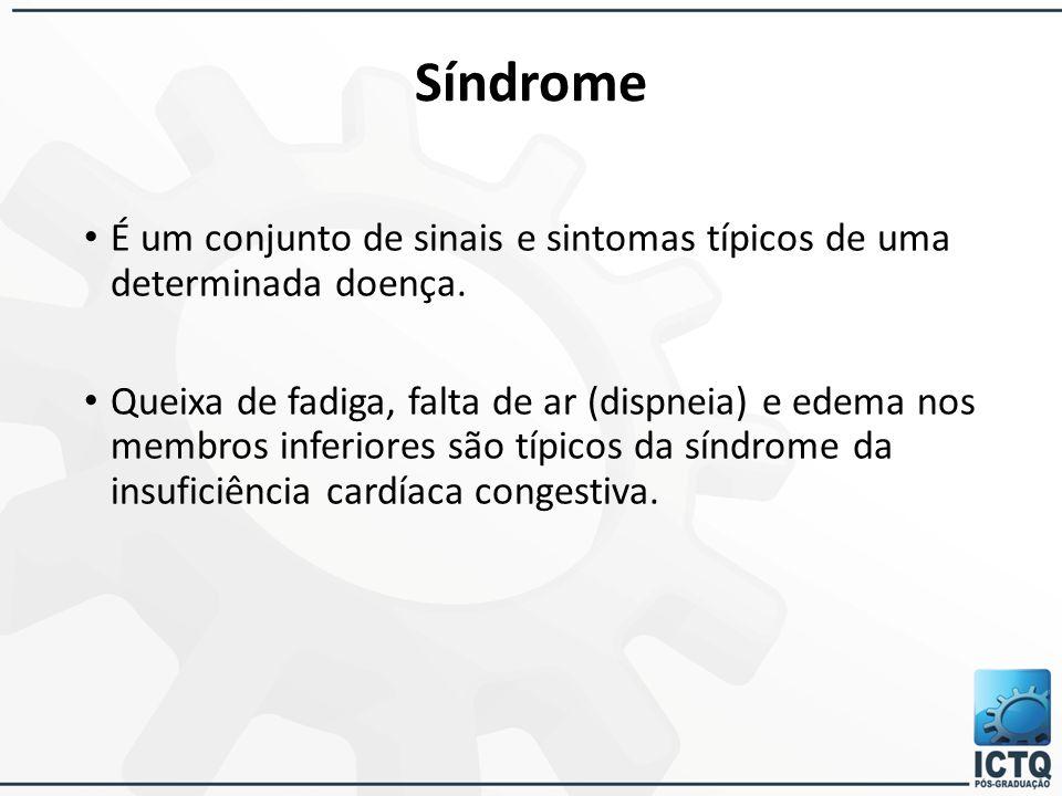 Síndrome É um conjunto de sinais e sintomas típicos de uma determinada doença. Queixa de fadiga, falta de ar (dispneia) e edema nos membros inferiores