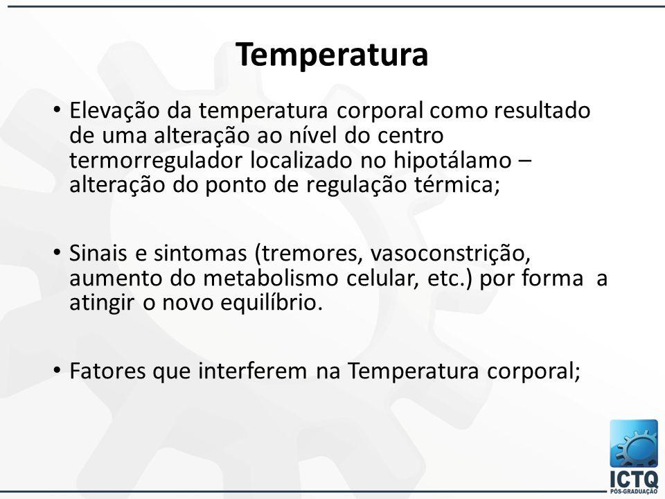 Temperatura Elevação da temperatura corporal como resultado de uma alteração ao nível do centro termorregulador localizado no hipotálamo – alteração d