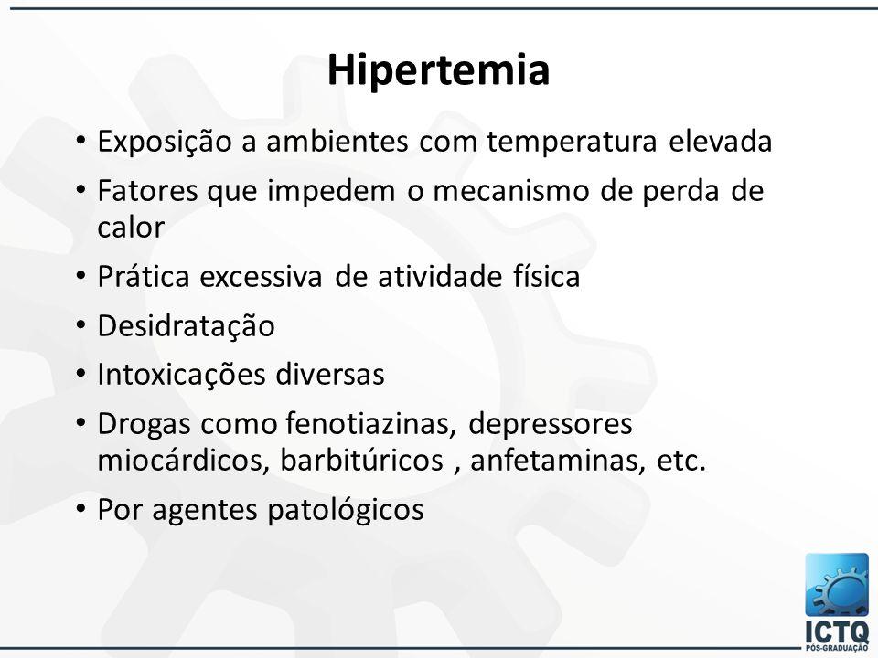 Hipertemia Exposição a ambientes com temperatura elevada Fatores que impedem o mecanismo de perda de calor Prática excessiva de atividade física Desid