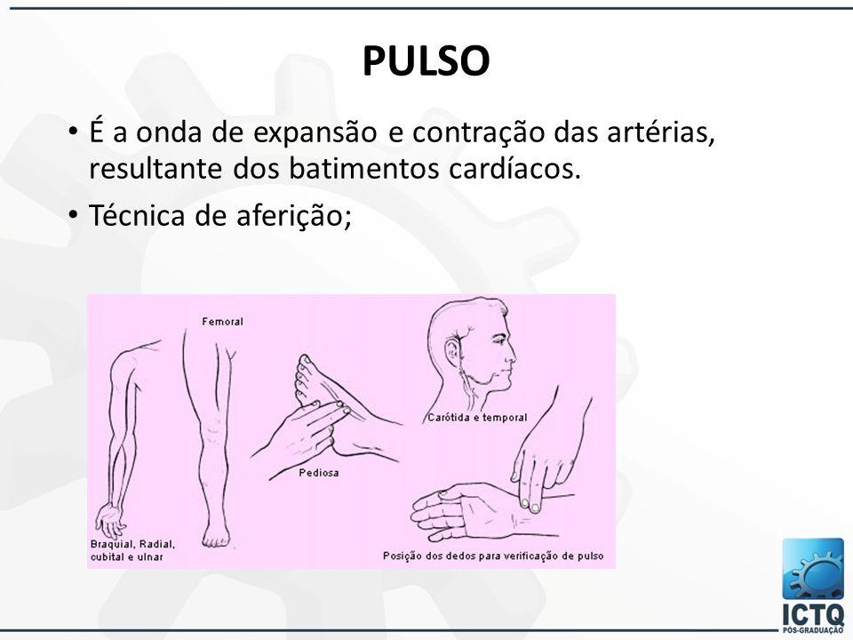 PULSO É a onda de expansão e contração das artérias, resultante dos batimentos cardíacos. Técnica de aferição;
