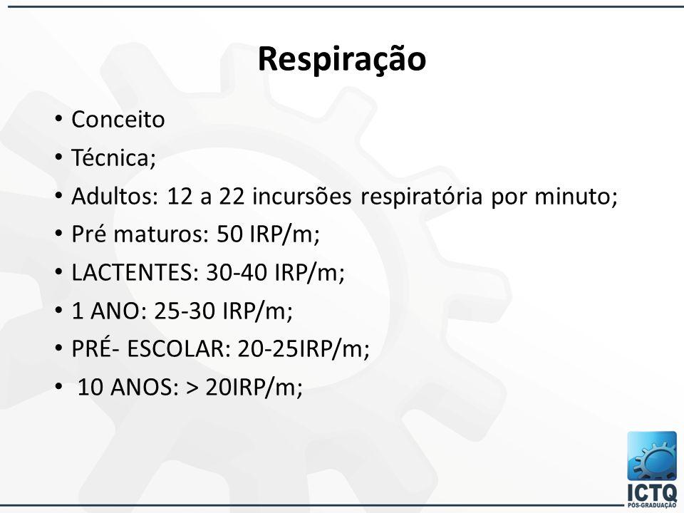 Conceito Técnica; Adultos: 12 a 22 incursões respiratória por minuto; Pré maturos: 50 IRP/m; LACTENTES: 30-40 IRP/m; 1 ANO: 25-30 IRP/m; PRÉ- ESCOLAR: