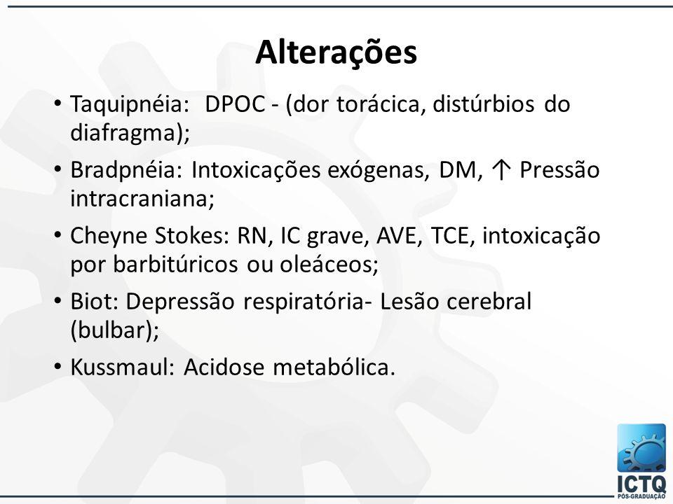 Alterações Taquipnéia: DPOC - (dor torácica, distúrbios do diafragma); Bradpnéia: Intoxicações exógenas, DM, ↑ Pressão intracraniana; Cheyne Stokes: R