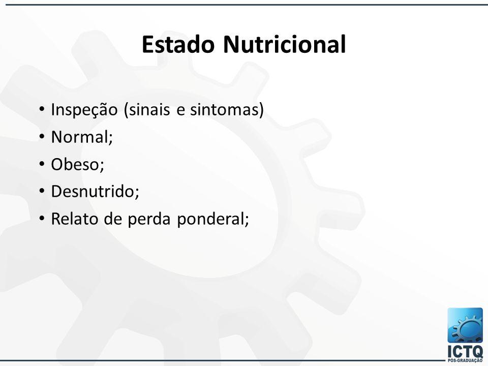 Estado Nutricional Inspeção (sinais e sintomas) Normal; Obeso; Desnutrido; Relato de perda ponderal;