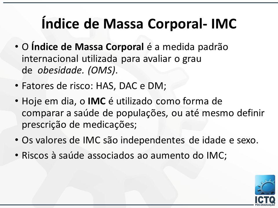 Índice de Massa Corporal- IMC O Índice de Massa Corporal é a medida padrão internacional utilizada para avaliar o grau de obesidade. (OMS). Fatores de