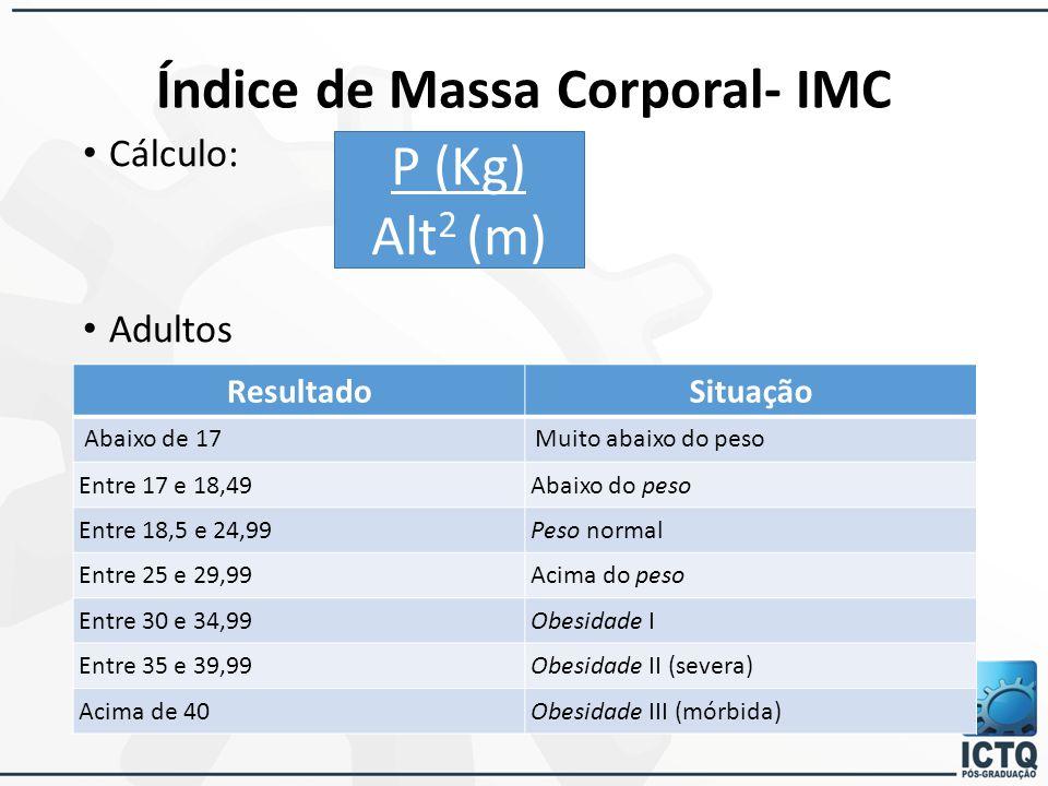 Cálculo: Adultos Índice de Massa Corporal- IMC P (Kg) Alt 2 (m) ResultadoSituação Abaixo de 17Muito abaixo do peso Entre 17 e 18,49Abaixo do peso Entr