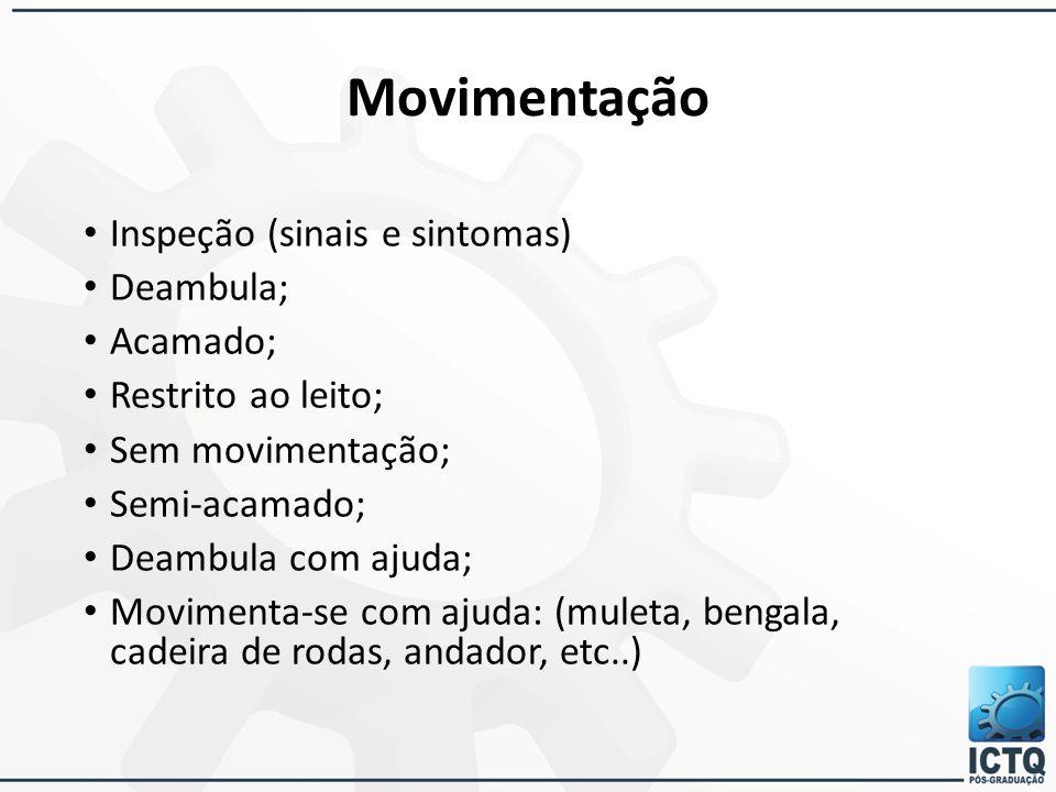 Movimentação Inspeção (sinais e sintomas) Deambula; Acamado; Restrito ao leito; Sem movimentação; Semi-acamado; Deambula com ajuda; Movimenta-se com a