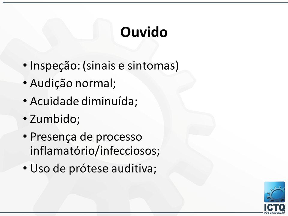 Ouvido Inspeção: (sinais e sintomas) Audição normal; Acuidade diminuída; Zumbido; Presença de processo inflamatório/infecciosos; Uso de prótese auditi