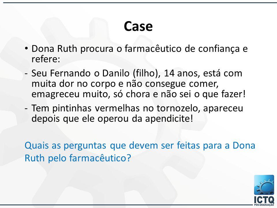 Case Dona Ruth procura o farmacêutico de confiança e refere: -Seu Fernando o Danilo (filho), 14 anos, está com muita dor no corpo e não consegue comer