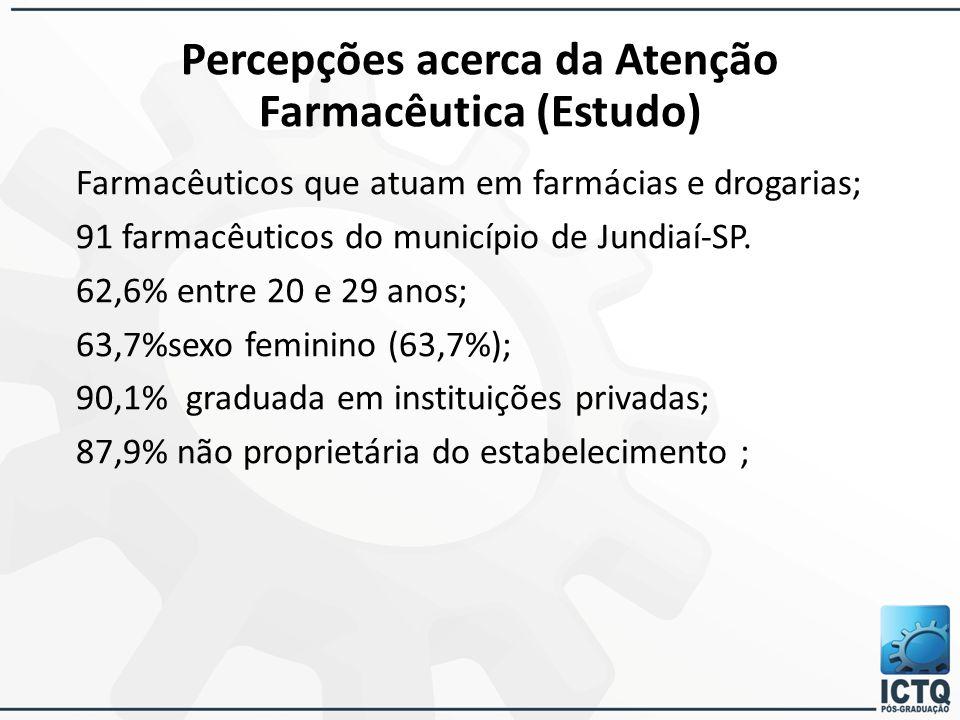 Percepções acerca da Atenção Farmacêutica (Estudo) Farmacêuticos que atuam em farmácias e drogarias; 91 farmacêuticos do município de Jundiaí-SP. 62,6