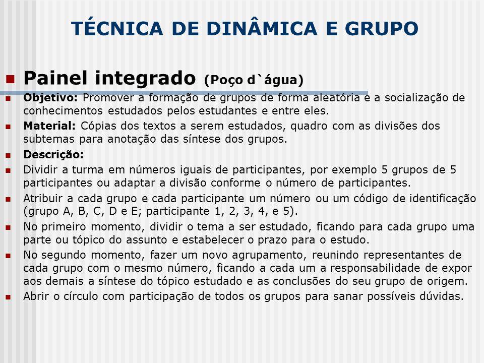 TÉCNICA DE DINÂMICA E GRUPO Painel integrado (Poço d`água) Objetivo: Promover a formação de grupos de forma aleatória e a socialização de conhecimento