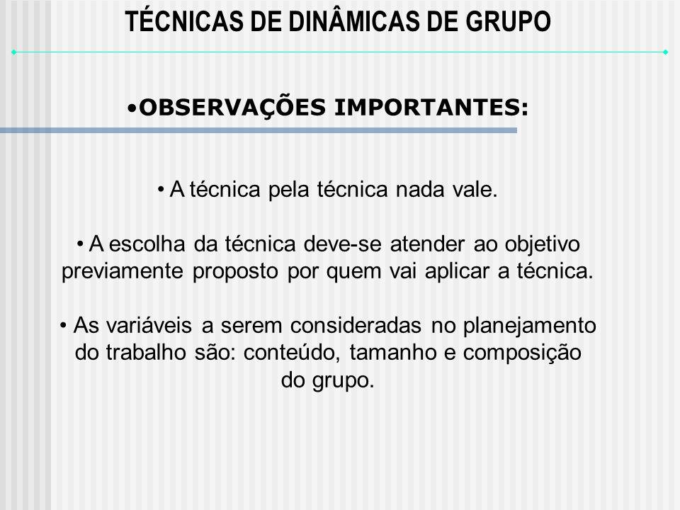 TÉCNICAS DE DINÂMICAS DE GRUPO OBSERVAÇÕES IMPORTANTES: A técnica pela técnica nada vale.