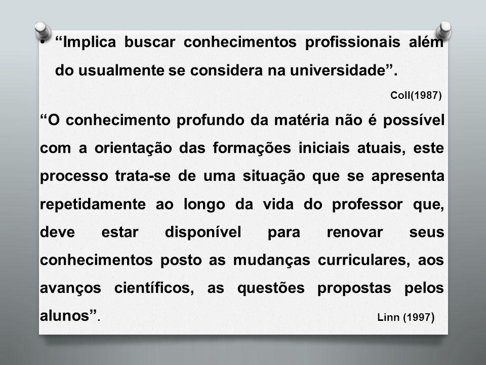 """""""Implica buscar conhecimentos profissionais além do usualmente se considera na universidade"""". Coll(1987) """"O conhecimento profundo da matéria não é pos"""