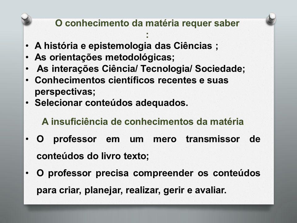 O conhecimento da matéria requer saber : A história e epistemologia das Ciências ; As orientações metodológicas; As interações Ciência/ Tecnologia/ So