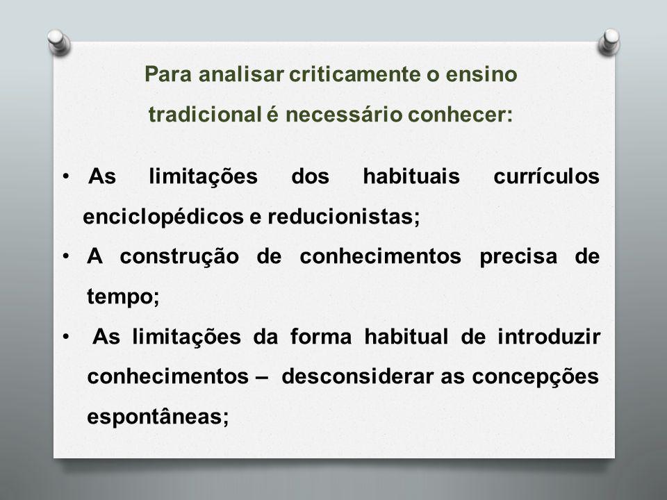 As limitações dos habituais currículos enciclopédicos e reducionistas; A construção de conhecimentos precisa de tempo; As limitações da forma habitual