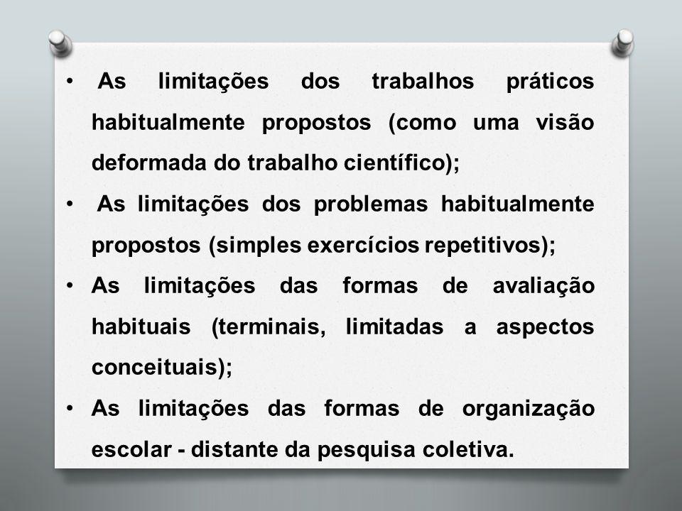 As limitações dos trabalhos práticos habitualmente propostos (como uma visão deformada do trabalho científico); As limitações dos problemas habitualme