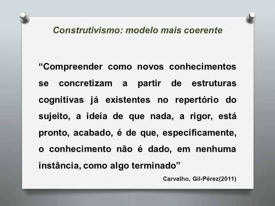 """Construtivismo: modelo mais coerente """"Compreender como novos conhecimentos se concretizam a partir de estruturas cognitivas já existentes no repertóri"""