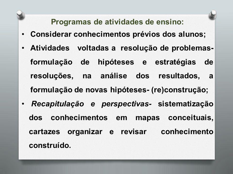 Programas de atividades de ensino: Considerar conhecimentos prévios dos alunos; Atividades voltadas a resolução de problemas- formulação de hipóteses