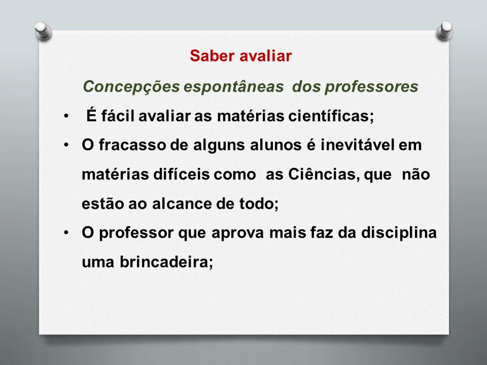 Saber avaliar Concepções espontâneas dos professores É fácil avaliar as matérias científicas; O fracasso de alguns alunos é inevitável em matérias dif
