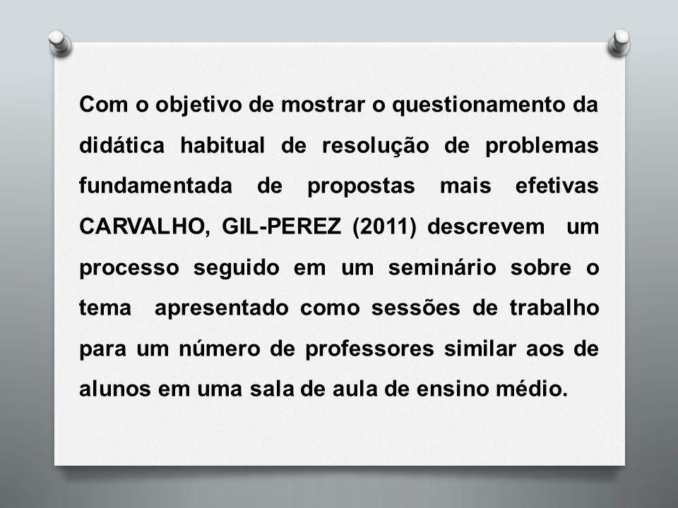 Com o objetivo de mostrar o questionamento da didática habitual de resolução de problemas fundamentada de propostas mais efetivas CARVALHO, GIL-PEREZ