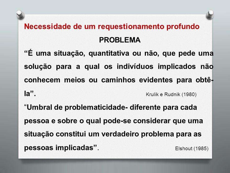 """Necessidade de um requestionamento profundo PROBLEMA """"É uma situação, quantitativa ou não, que pede uma solução para a qual os indivíduos implicados n"""