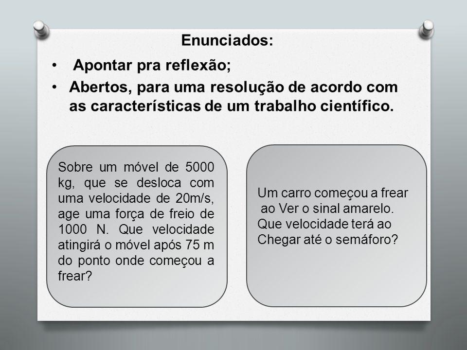 Enunciados: Apontar pra reflexão; Abertos, para uma resolução de acordo com as características de um trabalho científico. Sobre um móvel de 5000 kg, q