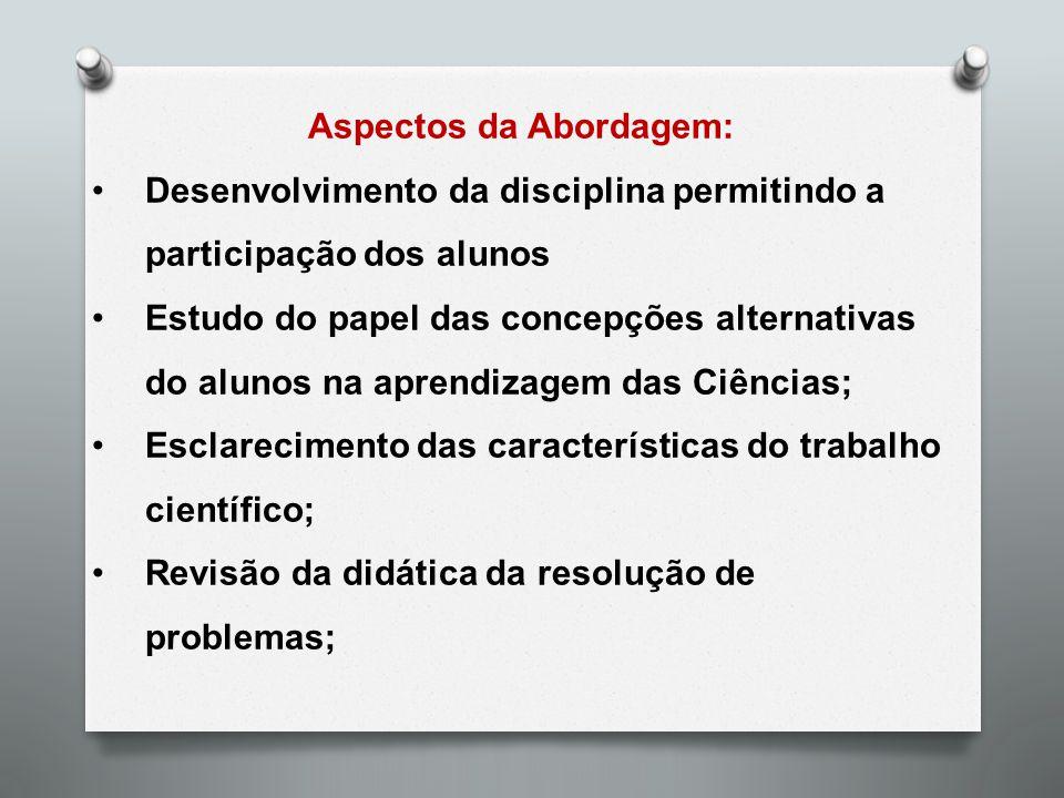 Aspectos da Abordagem: Desenvolvimento da disciplina permitindo a participação dos alunos Estudo do papel das concepções alternativas do alunos na apr