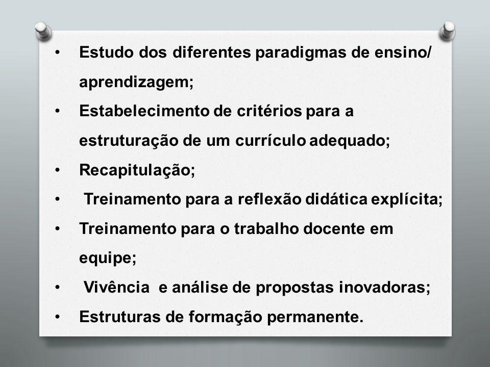 Estudo dos diferentes paradigmas de ensino/ aprendizagem; Estabelecimento de critérios para a estruturação de um currículo adequado; Recapitulação; Tr