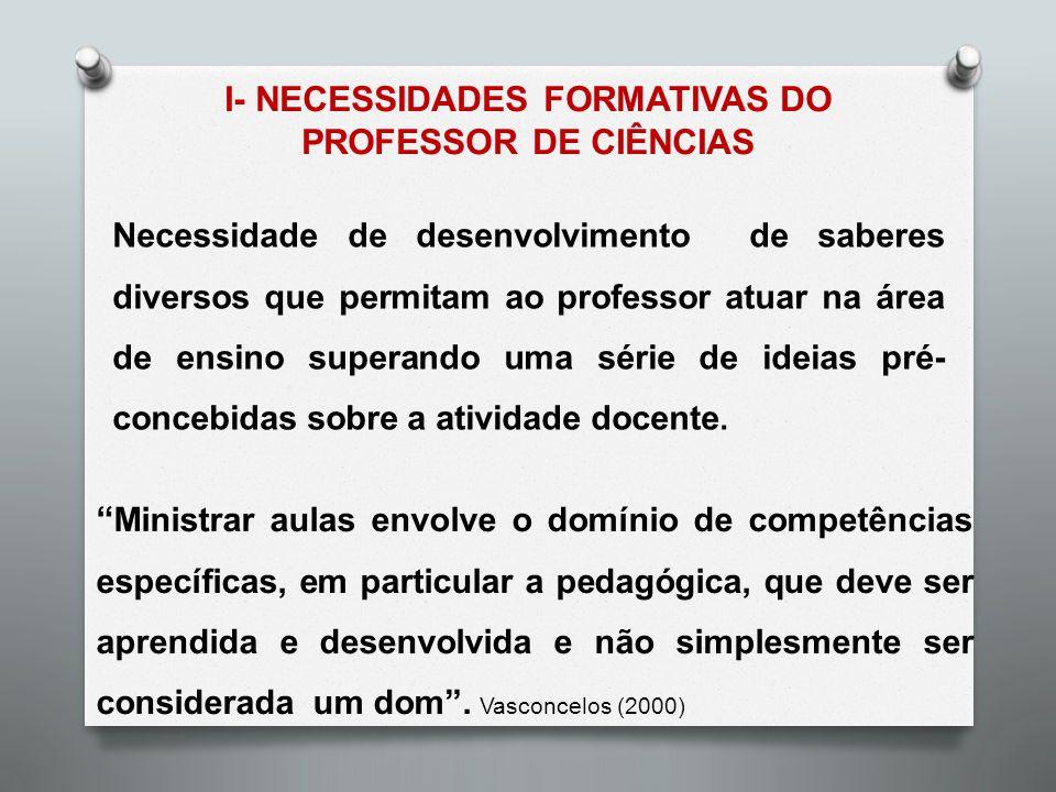 Necessidade de desenvolvimento de saberes diversos que permitam ao professor atuar na área de ensino superando uma série de ideias pré- concebidas sob