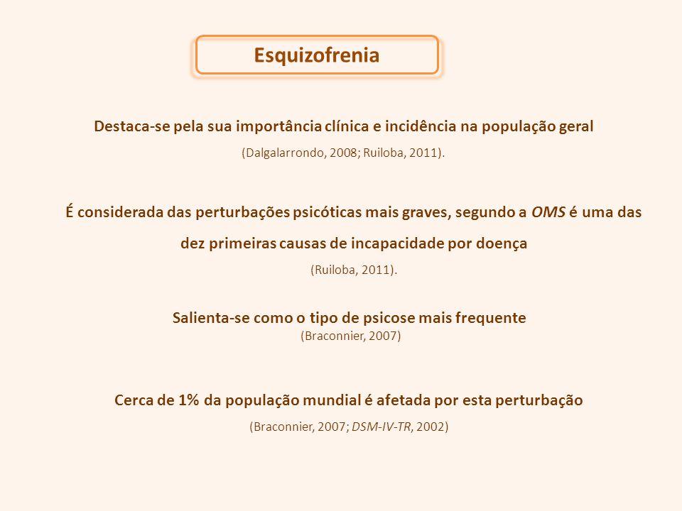Esquizofrenia Destaca-se pela sua importância clínica e incidência na população geral (Dalgalarrondo, 2008; Ruiloba, 2011). É considerada das perturba