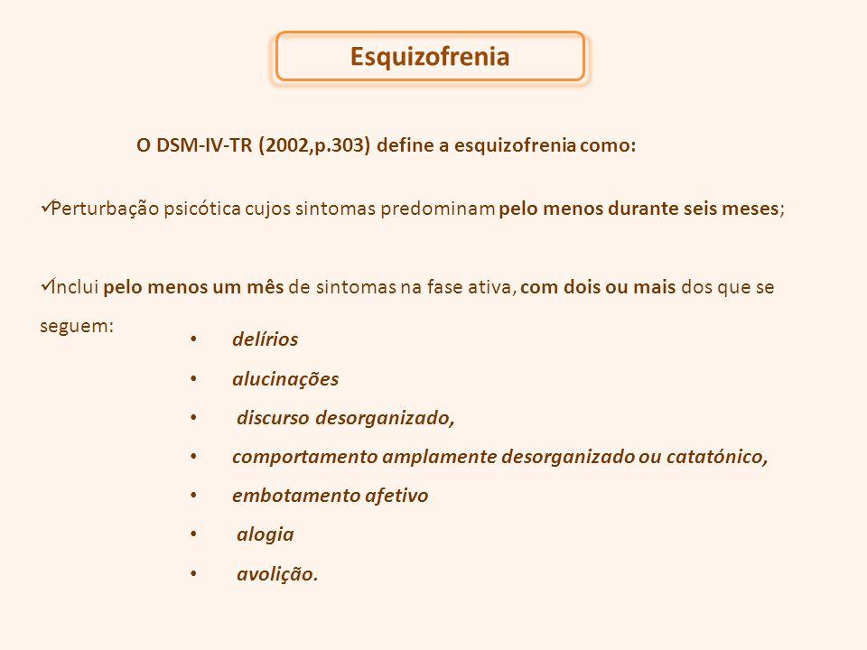 Esquizofrenia O DSM-IV-TR (2002,p.303) define a esquizofrenia como: Perturbação psicótica cujos sintomas predominam pelo menos durante seis meses; Inc