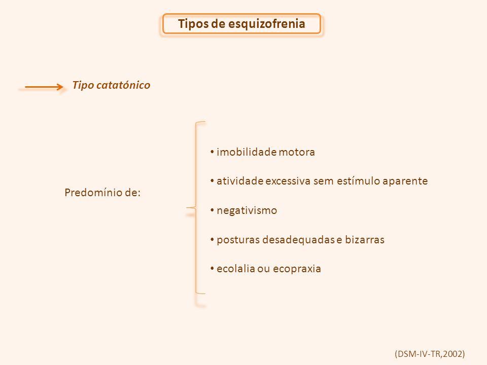 (DSM-IV-TR,2002) Tipo catatónico imobilidade motora atividade excessiva sem estímulo aparente negativismo posturas desadequadas e bizarras ecolalia ou ecopraxia Predomínio de: Tipos de esquizofrenia