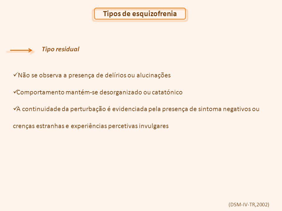 Tipos de esquizofrenia Tipo residual Não se observa a presença de delírios ou alucinações Comportamento mantém-se desorganizado ou catatónico A continuidade da perturbação é evidenciada pela presença de sintoma negativos ou crenças estranhas e experiências percetivas invulgares (DSM-IV-TR,2002)
