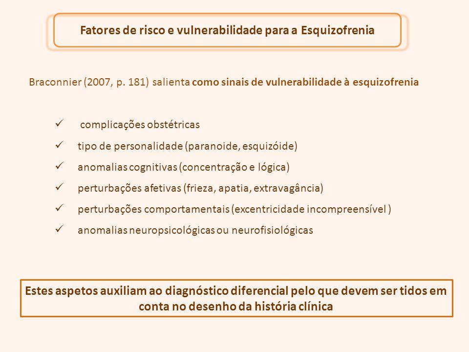 Braconnier (2007, p. 181) salienta como sinais de vulnerabilidade à esquizofrenia Fatores de risco e vulnerabilidade para a Esquizofrenia complicações
