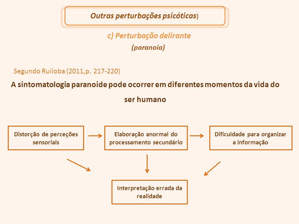 c) Perturbação delirante (paranoia) Segundo Ruiloba (2011,p. 217-220) A sintomatologia paranoide pode ocorrer em diferentes momentos da vida do ser hu