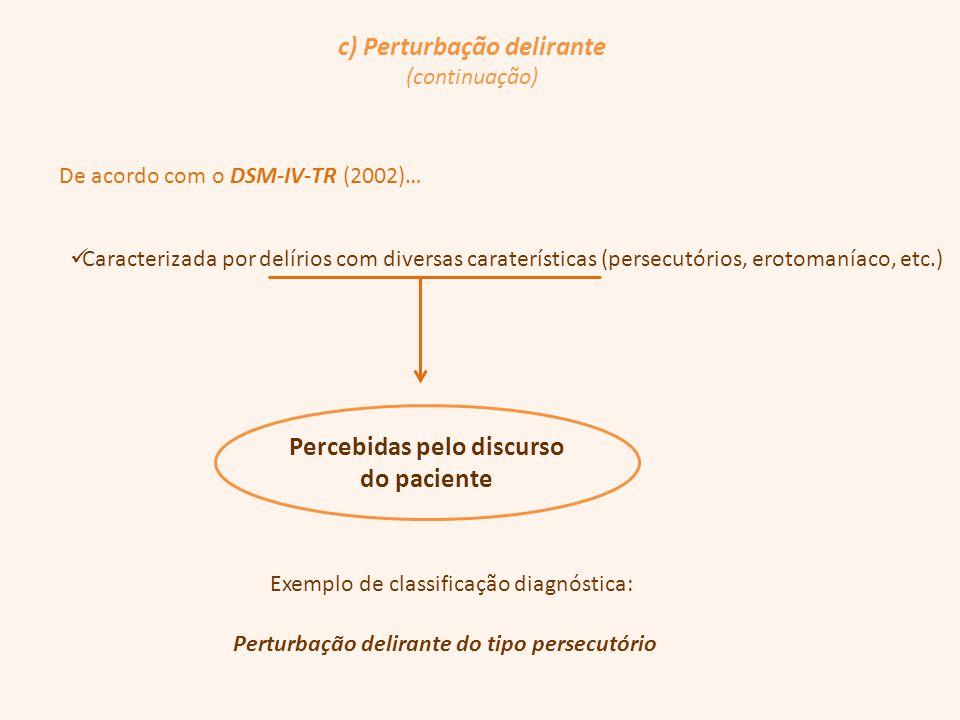 c) Perturbação delirante (continuação) De acordo com o DSM-IV-TR (2002)… Caracterizada por delírios com diversas caraterísticas (persecutórios, erotom