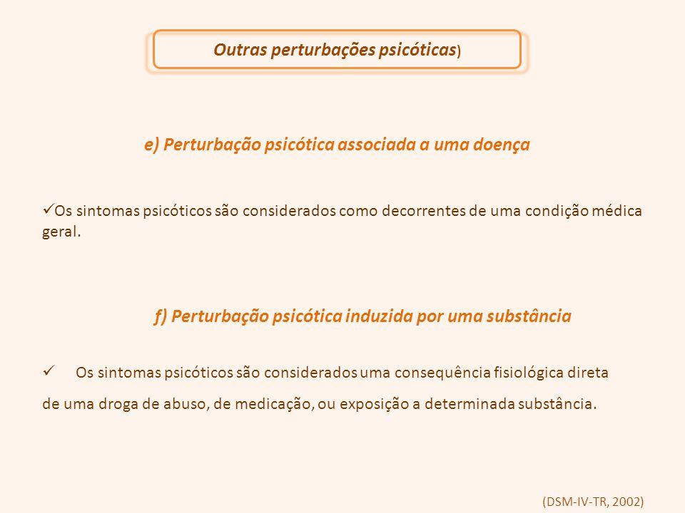 e) Perturbação psicótica associada a uma doença Os sintomas psicóticos são considerados como decorrentes de uma condição médica geral. f) Perturbação