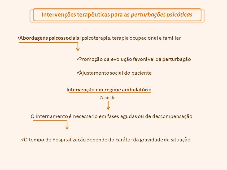 Abordagens psicossociais: psicoterapia, terapia ocupacional e familiar Promoção da evolução favorável da perturbação Ajustamento social do paciente O