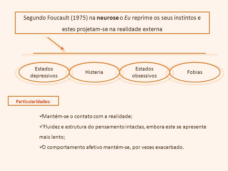 Segundo Foucault (1975) na neurose o Eu reprime os seus instintos e estes projetam-se na realidade externa FobiasHisteria Estados depressivos Estados